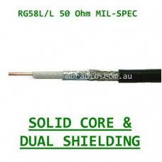 RG58 LOW LOSS MIL-SPEC SOLID CORE/DUAL SHIELDED 50 OHM COAX CABLE