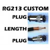"RG213 COAX CABLE WITH CUSTOM 'LENGTH"" & 'N' or 'PL259' CONNECTOR OPTIONS"