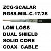RG58-MIL-C-17/28 LOW LOSS DUAL SHIELDED/SOLID CORE 50 OHM COAX